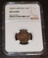 1864 Great Britain 1/4 Pence Farthing Graded by NGC as MS 64 BN Lots of Luster
