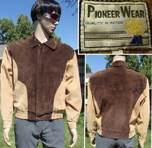 vintage 70's PIONEER WEAR suede leather jacket western rockabilly cowboy mens M