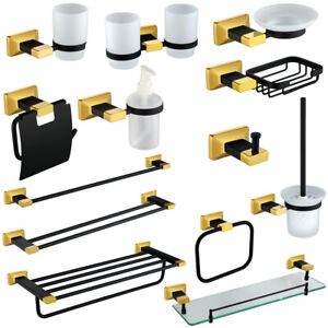 Black Gold Bathroom Accessory Towel Rack Bar Soap Dish dispenser Paper Holder