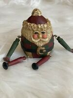 Vtg Lefever Round Roly Poly Santa Figure Folk Art Shelf Sitter Enesco Wood