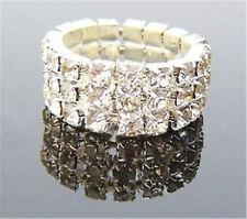 Oro Blanco tono 3 Fila Cristal Claro estiramiento anillo