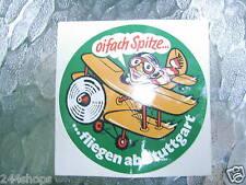 """STUTTGART GERMANY - VINTAGE """"OIFACH SPITZE - FLIEGEN AB STUTTGART"""" - 4"""" STICKER"""