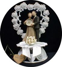 Heart to Heart 50TH Anniversary 50 Wedding WHITE GOLD CAKE TOPPER top