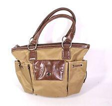 9B ABRO Damen Tasche Shopper Leder Nylon braun 2 Henkel Schultertasche