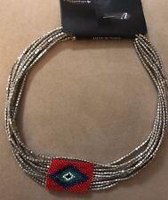 Choker Fashion Necklace #3 00004000 94 Multi Chain Silver Tone Beaded