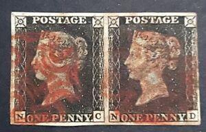 GB QV 1840 PENNY BLACK PAIR (NC-ND) PL 07  FOUR MARGIN CLOSE RED MALTESE CROSS!