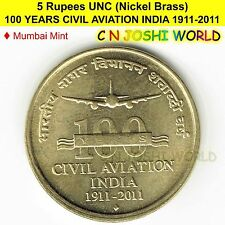 100 YEARS CIVIL AVIATION INDIA 1911-2011 Nickel-Brass 5 Rupee UNC # 1 Coin