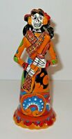 Mexican Talavera Catrina Day of the Dead Rifle Bandita Pottery Folk Art 7 1/4""