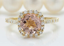 Women Natural MORGANITE and DIAMOND 2.72 CTW in 14K Solid Yellow Gold Ring
