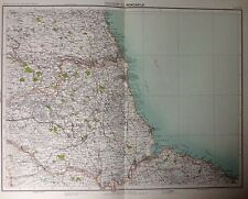 Newcastle area-antique map c1898 bartholomew royal atlas of england & wales