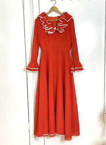 Vintage Red Polkadot Frill Fit Flair Maxi Peppertree Dress Size 13 Made In NZ