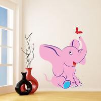 Wall Nursery Decal Elephant Baby Sticker Decor Girl Vinyl Pink Room Kids Mural
