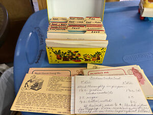 Vintage Metal Recipe Box With Old Recipes Some Hand Written Or Clipped Printed