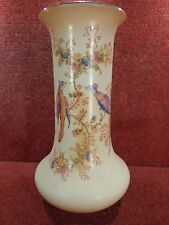 "CROWN DUCAL Warm Ivory Blush Birds & Butterfly 9"" VASE c1916 FREE UK POSTAGE"