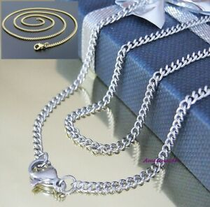 Curb Chain 2-3 Stainless Steel Silber 30-120 CM Necklace Pendant Ladies Men's