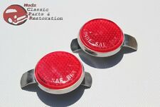 49-50 Chevy Rear Lamp Bezel Red Tail Light Reflectors Guide SAE Script Pair New