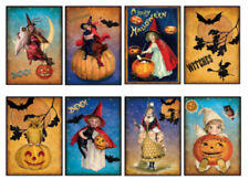 Vintage Image Shabby Victorian Halloween Labels Waterslide Decals Hal110