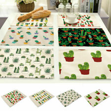 Cactus Printing Cotton Linen Insulation Placemat Dining Table Home Kitchen Mat