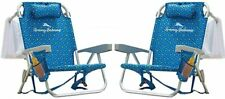 2 PACK | Tommy Bahama Backpack Beach Folding Deck Chair Blue Flower 2020