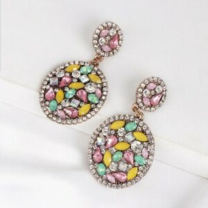 Sparkling oval drop pink & White crystal statement chandelier fashion earrings