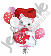 7 pc White Kitty I Love You Balloon Bouquet Be Mine Happy Valentines Day Hugs