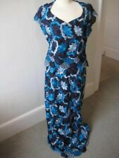 Ethnic African full length 2 piece short sl. navy, blue + grey embroidered dress
