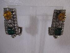 Silver Hook Earrings Nwot $495 Dannijo Yellow Green Crystal Antique