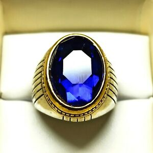 Silver Plated Solid Stunning Oval Shape Sapphire Dazzling Ring US Size 10