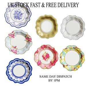 Polka Dot Sky Vintage Floral Small Paper Plates for Birthday Afternoon Tea Party