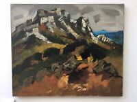 Peinture Huile toile Signé HST Paysage Village Baux De Provence 1975 Orage