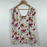 Sportsgirl Top Size 14 Multicoloured Cold Shoulder Relaxed Fit Floral Sleeveless