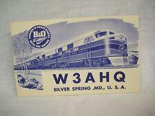 Postcard SILVER SPRING MD B & O R. R. Ham Radio1950's  unused