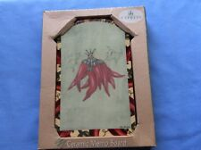 BNIB CYPRESS Chillii Ceramic Memo Board with Hanging Hook,Wooden Stand & Pen.