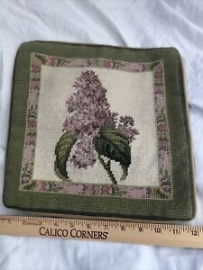 "Handmade Needlepoint petit point Floral Pillow 12 x 12"" pink/green"