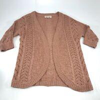 Pink Rose Womens 1/2 Sleeve Knit Open Cardigan Size Medium