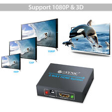 1 In 2 Out Switch Box 1080P HDMI Splitter Amplifier 2 Way Hub USB Power HDTV PS3