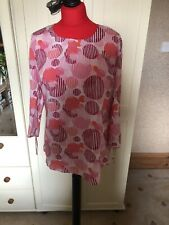 GERRY WEBER Pink Passion Ladies Pink Circle Print 3/4 Sleeve  Blouse Size 12 NEW