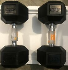 40LB Pair Of CAP Rubber Coated Hex Dumbells 80lbs Total Weight Weider FREE SHIP