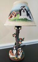 Bradford Exchange Shih Tzu Tabletop Lamp - Art by Linda Picken Rare Lamp Nwob
