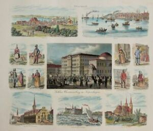 Denmark in 1850-ties. A rare, large German Lithography showing views, cities