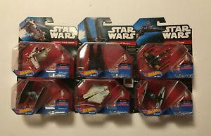6 Star Wars Die-Cast Hot Wheels Vehicles - Gunship, X-Wing, Ghost, Tie Fighter