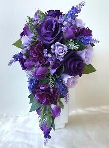 Artificial wedding bouquet purple lavender gyp teardrop fake bridal bouquets