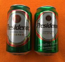 Presidente Cerveza Pilsener empty aluminum Two (2) Beer Cans Dominican Republic