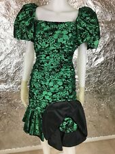 Vintage 1980's Green & Black Brocade Satin Party Dress, Size S, Pre-Owned
