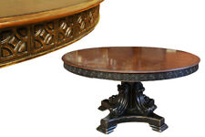 Round Walnut Dining Table, Black and Gold Alhambra Finish