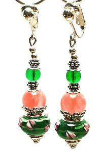 Long Silver Green & Pink Clip-On Earrings Glass & Agate Bead Drop Dangle Gypsy