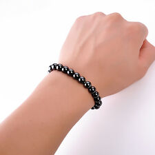 Magnetic Round Black Stone Bracelet Weight Loss Health Care Therapy Hand Jewelry