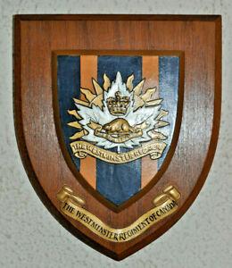 Westminster Regiment of Canada regimental mess wall plaque shield crest Canadian