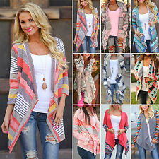 Damen Cardigan Strickjacke Mantel Weste Pullover Longshirt Bluse Jacke Poncho GR