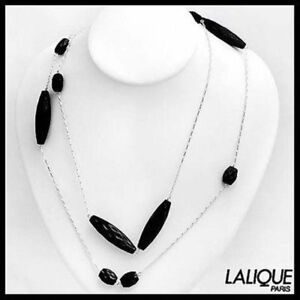 "LALIQUE BRIOLETTE 13 BLACK CRYSTAL Jewels 42"" 925 Silver NECKLACE 7775100"